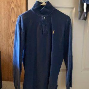 Long sleeve 2 button blue polo shirt medium